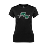 Ladies Syntrel Performance Black Tee-WLC Diagonal w/ Sword
