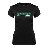 Ladies Syntrel Performance Black Tee-Mom - Wisconsin Lutheran College Warriors