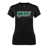 Ladies Syntrel Performance Black Tee-WLC w/ Sword
