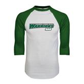 White/Dark Green Raglan Baseball T-Shirt-Dad - Wisconsin Lutheran College Warriors