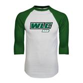 White/Dark Green Raglan Baseball T-Shirt-Dad - WLC