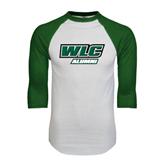 White/Dark Green Raglan Baseball T-Shirt-Alumni - WLC