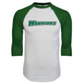 White/Dark Green Raglan Baseball T-Shirt-Warriors
