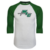 White/Dark Green Raglan Baseball T-Shirt-WLC Diagonal w/ Sword