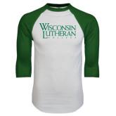 White/Dark Green Raglan Baseball T-Shirt-Wisconsin Lutheran College Stacked