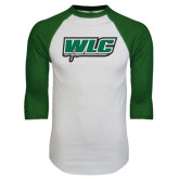White/Dark Green Raglan Baseball T-Shirt-WLC w/ Sword