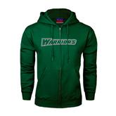 Dark Green Fleece Full Zip Hoodie-Warriors