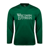 Syntrel Performance Dark Green Longsleeve Shirt-Wisconsin Lutheran College Stacked