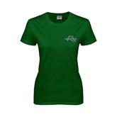 Ladies Dark Green T Shirt-WLC Diagonal w/ Sword