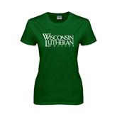 Ladies Dark Green T Shirt-Wisconsin Lutheran College Stacked