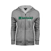 ENZA Ladies Grey Fleece Full Zip Hoodie-Mom - Wisconsin Lutheran College Warriors