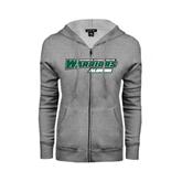 ENZA Ladies Grey Fleece Full Zip Hoodie-Alumni - Wisconsin Lutheran College Warriors