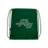 Dark Green Drawstring Backpack-WLC Diagonal w/ Sword