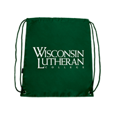 Dark Green Drawstring Backpack-Wisconsin Lutheran College Stacked