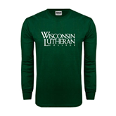 Dark Green Long Sleeve T Shirt-Wisconsin Lutheran College Stacked