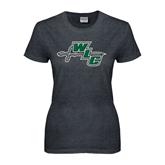 Ladies Dark Heather T Shirt-WLC Diagonal w/ Sword