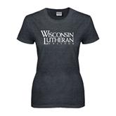 Ladies Dark Heather T Shirt-Wisconsin Lutheran College Stacked