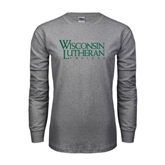 Grey Long Sleeve T Shirt-Wisconsin Lutheran College Stacked