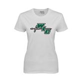 Ladies White T Shirt-WLC Diagonal w/ Sword