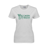 Ladies White T Shirt-Wisconsin Lutheran College Stacked