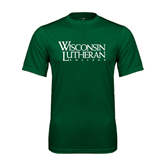 Performance Dark Green Tee-Wisconsin Lutheran College Stacked