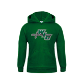 Youth Dark Green Fleece Hoodie-WLC Diagonal w/ Sword