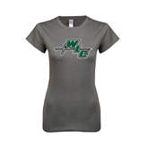 Ladies SoftStyle Junior Fitted Charcoal Tee-WLC Diagonal w/ Sword