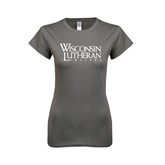 Ladies SoftStyle Junior Fitted Charcoal Tee-Wisconsin Lutheran College Stacked