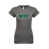 Ladies SoftStyle Junior Fitted Charcoal Tee-WLC w/ Sword