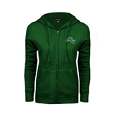 ENZA Ladies Dark Green Fleece Full Zip Hoodie-WLC Diagonal w/ Sword