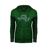 ENZA Ladies Dark Green Fleece Full Zip Hoodie-WLC Diagonal w/ Sword