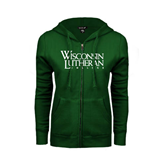 ENZA Ladies Dark Green Fleece Full Zip Hoodie-Wisconsin Lutheran College Stacked