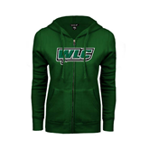 ENZA Ladies Dark Green Fleece Full Zip Hoodie-WLC w/ Sword