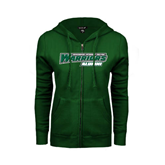 ENZA Ladies Dark Green Fleece Full Zip Hoodie-Alumni - Wisconsin Lutheran College Warriors