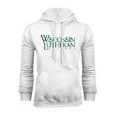 White Fleece Hoodie-Wisconsin Lutheran College Stacked