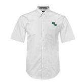 White Twill Button Down Short Sleeve-WLC Diagonal