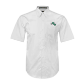 White Twill Button Down Short Sleeve-WLC Diagonal w/ Sword