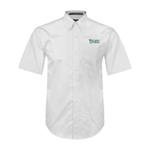 White Twill Button Down Short Sleeve-Wisconsin Lutheran College Stacked