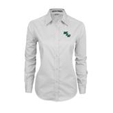 Ladies White Twill Button Down Long Sleeve-WLC Diagonal