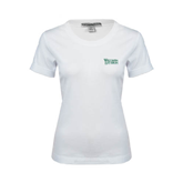 Ladies White Stretch Scoop Neck-Wisconsin Lutheran College Stacked