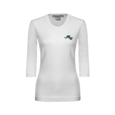 Ladies White 3/4 Sleeve Scoop Neck-WLC Diagonal w/ Sword