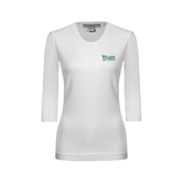 Ladies White 3/4 Sleeve Scoop Neck-Wisconsin Lutheran College Stacked
