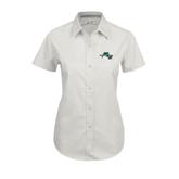 Ladies White Twill Button Up Short Sleeve-WLC Diagonal w/ Sword