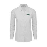 Ladies White Oxford Shirt-WLC Diagonal w/ Sword