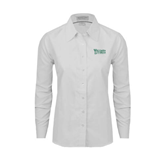 Ladies White Oxford Shirt-Wisconsin Lutheran College Stacked