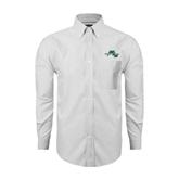 Mens White Oxford Long Sleeve Shirt-WLC Diagonal w/ Sword