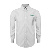 Mens White Oxford Long Sleeve Shirt-Wisconsin Lutheran College Stacked