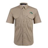 Khaki Short Sleeve Performance Fishing Shirt-WLC Diagonal w/ Sword