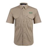 Khaki Short Sleeve Performance Fishing Shirt-Wisconsin Lutheran College Stacked
