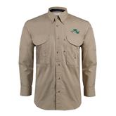 Khaki Long Sleeve Performance Fishing Shirt-WLC Diagonal w/ Sword